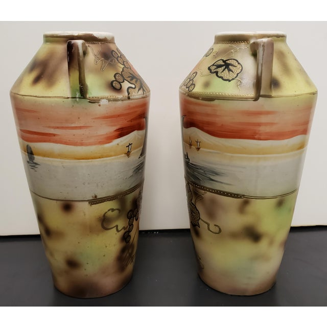 1910s Circa 1910 Japanese Royal Nippon Porcelain Sailing Ship/Grapevine Motif Vases - a Pair For Sale - Image 5 of 7