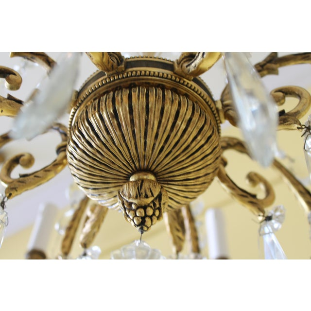 19th Century Maison Bagues Palm Motif Eight Light Crystal & Bronze Chandelier = Neoclassical Style For Sale - Image 12 of 13