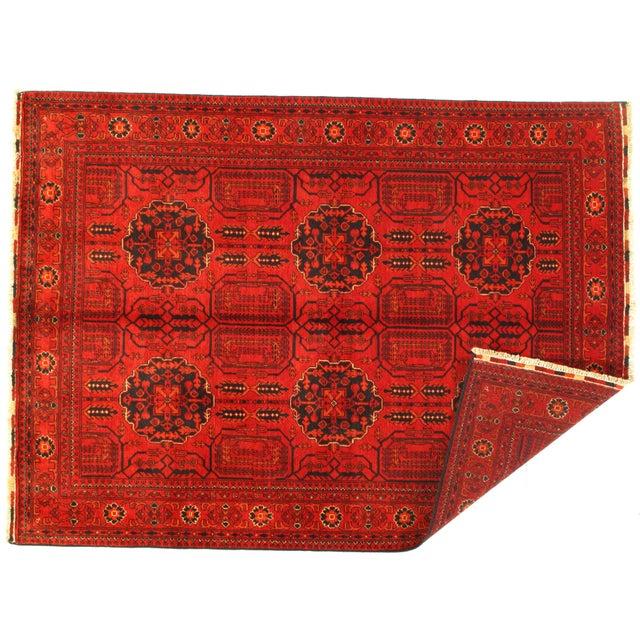 "Afghan Pasargad N Y Afghan Bashir Red Hand Knotted Rug - 4′9"" × 6′4″ For Sale - Image 3 of 4"