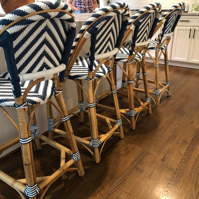 Serena & Lily Chevron Riviera Stools - Set of 4 For Sale In Washington DC - Image 6 of 8