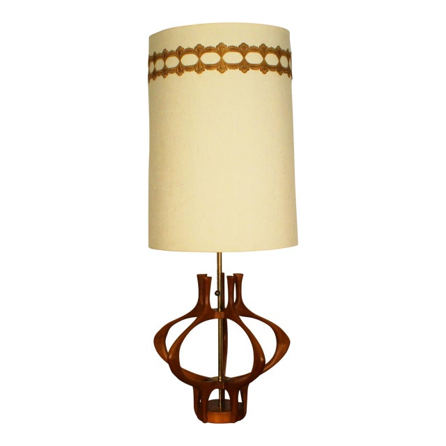 Modeline Sculptural Wood Mid-Century Table Lamp For Sale