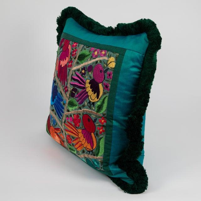 Folk Art Modern Embroidered Bird & Flower Pillow For Sale - Image 3 of 5