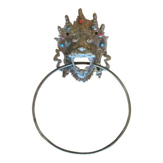Antique India Solid Brass Balinese Lion Towel Ring For Sale