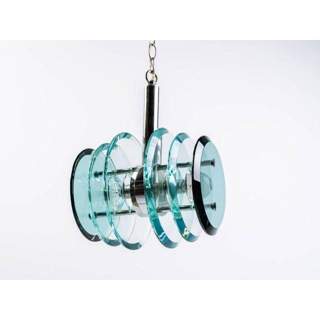 Italian Mid-Century Modern Geometric Glass Pendant Light For Sale - Image 9 of 11