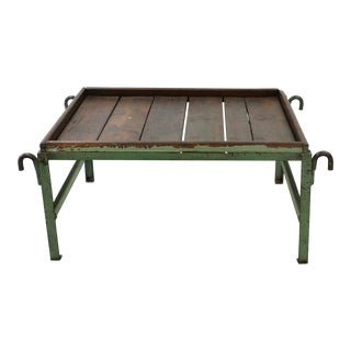 Rustic Industrial Iron and Wood Coffee Table For Sale