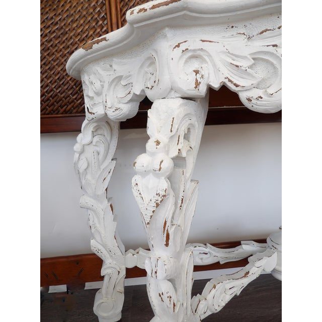 Late 20th Century Late 20th Century Hand Carved White Distressed Finish Console Table For Sale - Image 5 of 7
