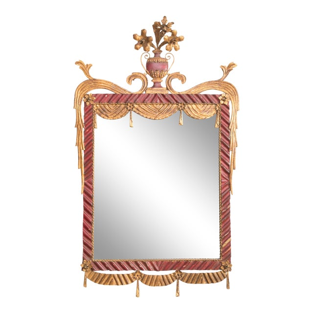 Dorothy Draper Style Red and Gilt Tole Mirror For Sale