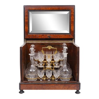 Late 19th Century Baccarat Style French Antique Tantalus - 22 Piece Set For Sale