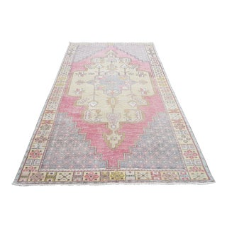 1950s Vintage Turkish Tribal Hand-Knotted Rug-4′6″ × 9′2″ For Sale