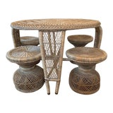 Image of 1970's Boho Chic Wicker Table With 4 Stools - 5 Pieces For Sale