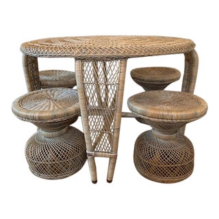 1970's Boho Chic Wicker Table With 4 Stools - 5 Pieces For Sale