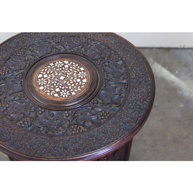 Antique Round Inlayed Table with Carvings - Image 3 of 6