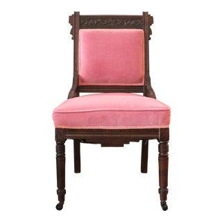 Eastlake Pink Velvet Side Chair