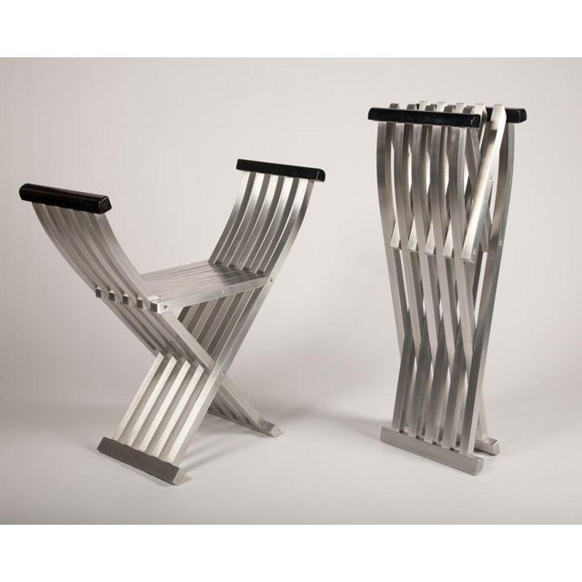John Vesey Pair of Aluminum Folding Benches by John Vesey For Sale - Image 4 of 7