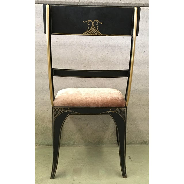 Early Regency or Gustavian Bellman Chair; After Sheraton, Set of Six Iron Chairs Hand Painted in Polychrome and Gold Very...