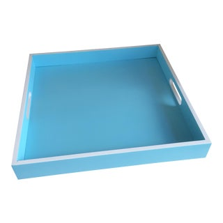 Contemporary Bamboo Tiffany Blue & White Square Serving Tray