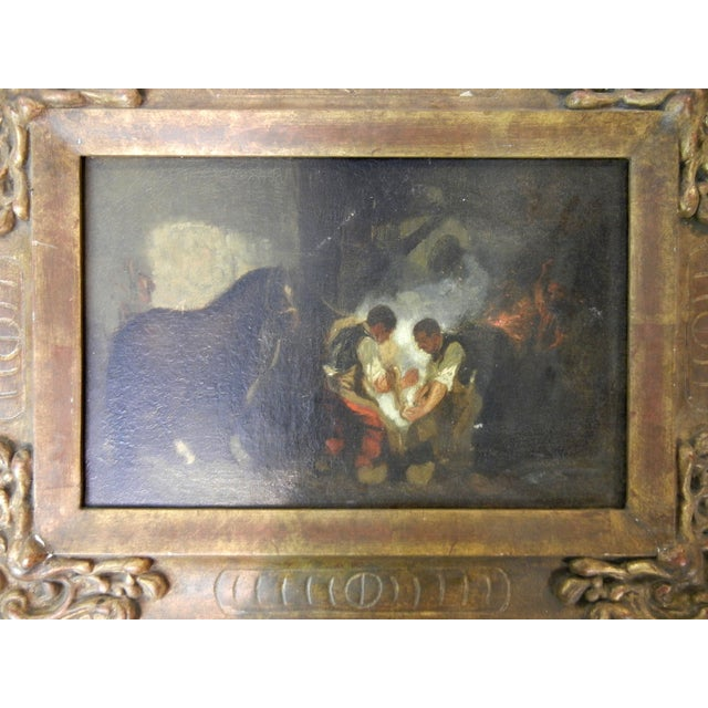 Presented here is a Staggering Antique Spanish Oil on Canvas Painting of Blacksmiths. This antique oil painting portrays...
