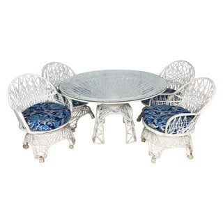 Woodard Style Spun Fiberglass Table & Chairs - S/5