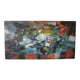 """""""Stranded Phrase"""" Mid-Century Abstract Painting Signed Harri For Sale"""