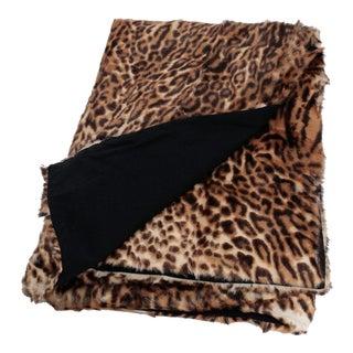 Leopard Print Shearling Throw Blanket by Tasha Tarno For Sale