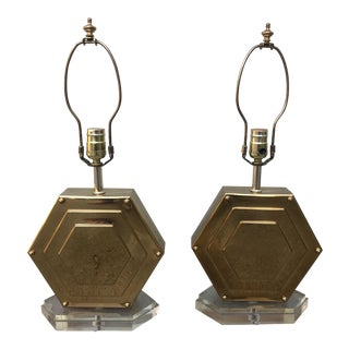 Brass Art Deco Lamps - A Pair