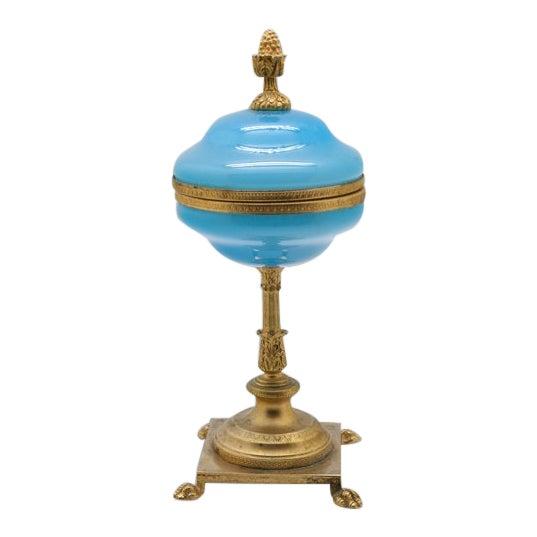 Vintage Large Blue Opaline and Brass Pedestal Box For Sale