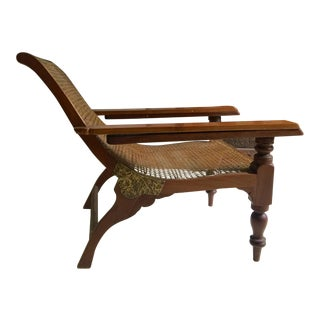 Antique Teak Colonial Plantion Chair With Fold Out Arms
