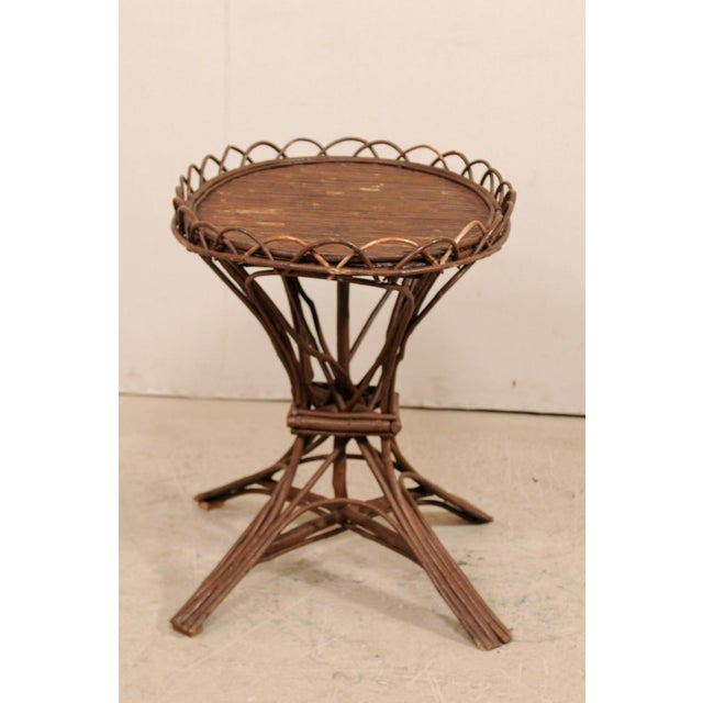 Early 20th Century 20th Century Swedish Wood Twig and Reed Oval Side Table For Sale - Image 5 of 12
