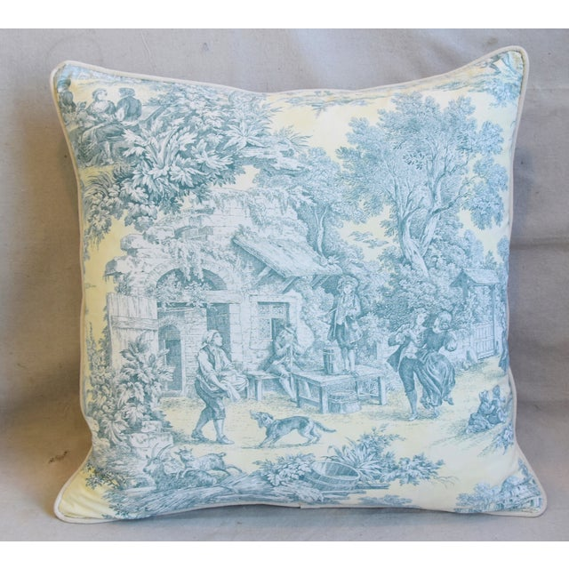 """Abstract French Farmhouse Country Toile Feather/Down Pillows 24"""" Square - Pair For Sale - Image 3 of 13"""