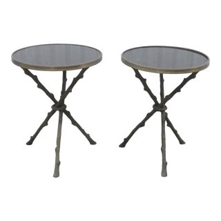 Granite Topped Gueridon Faux Bamboo Tripod Tables - a Pair For Sale