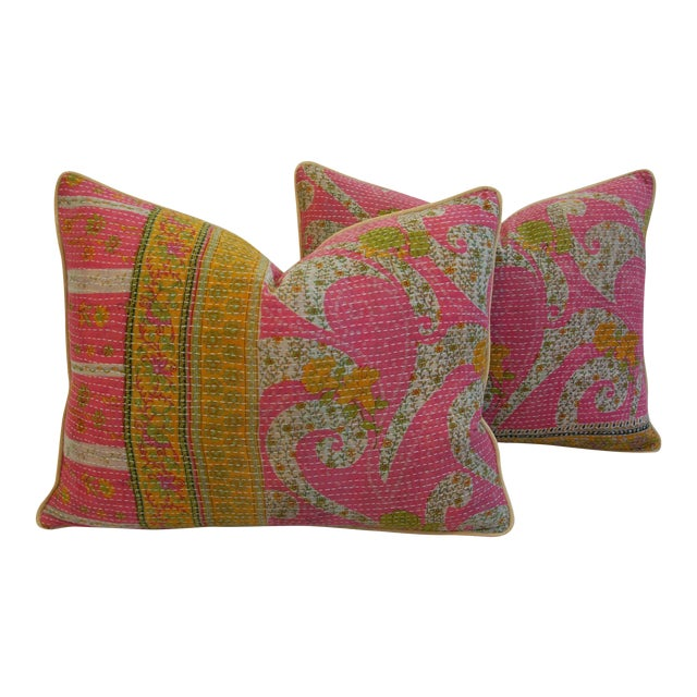 Vintage Kantha Textile Pillows - a Pair - Image 1 of 11