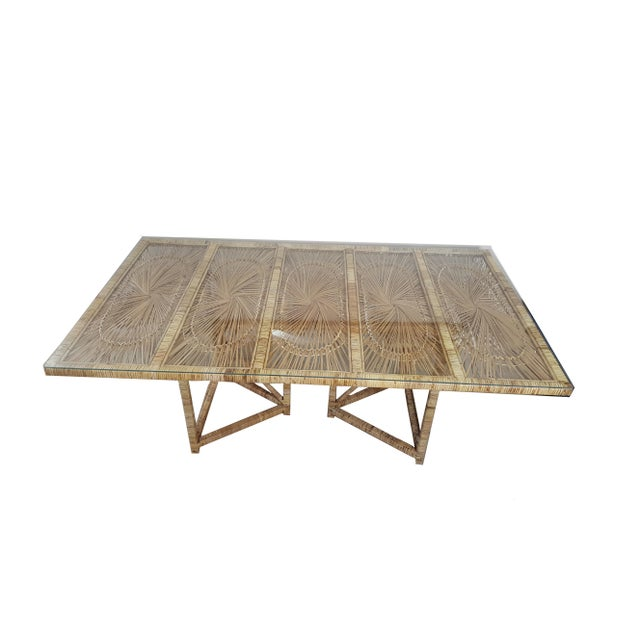 Boho Chic Buri Rattan Rectangular Dining Table For Sale - Image 4 of 6