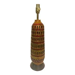 Mid-Century Modern Incised Ceramic Table Lamp For Sale
