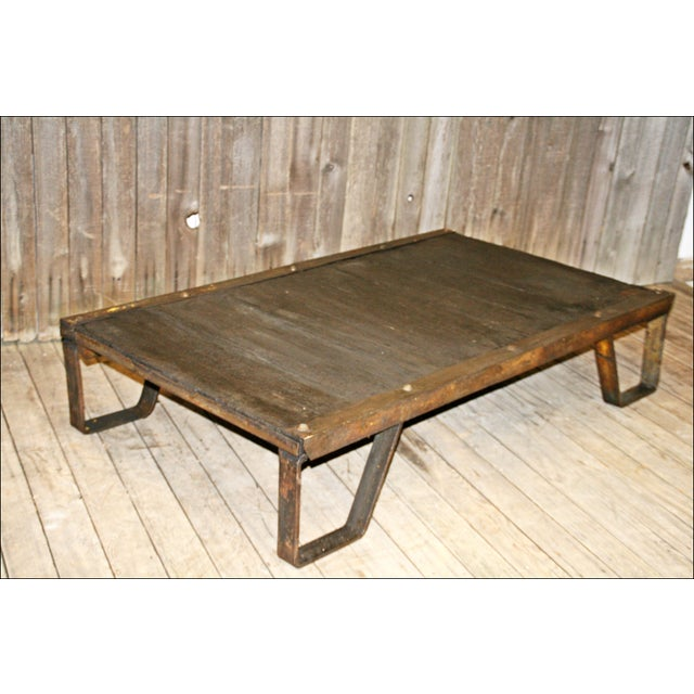 Vintage Industrial Iron & Wood Pallet Table Base - Image 6 of 11