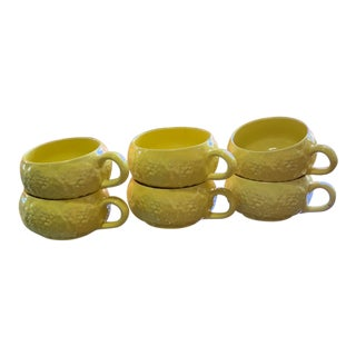 Vintage Secla Majolica Yellow Cabbageware Soup Cups - Set of 6 For Sale