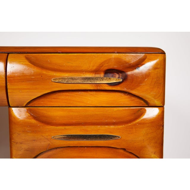 Midcentury Sculptured Pine Desk by the Franklin Shockey Company For Sale - Image 10 of 13