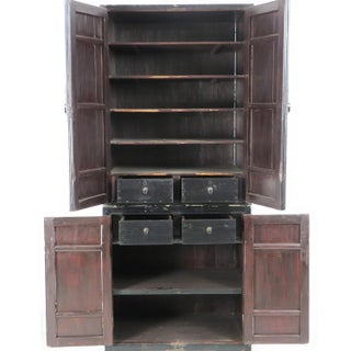 """Antique Chinese Black Lacquer 2 Piece Cabinet W Gold Designs, 75"""" Tall 30"""" Wide Preview"""