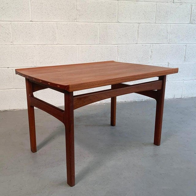 Scandinavian modern, teak side table by Tove And Edvard Kindt-Larsen for DUX features upturned edges and wonderful...