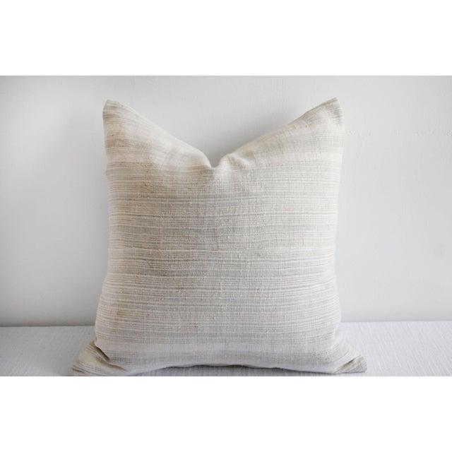 Vintage European Linen Stripe Textile Pillow SKU Number: 4272-0A499 Description: Vintage European stripe woven pillow, the...