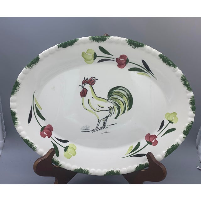 1950s Blue Ridge Rooster Platter From Southern Potteries For Sale In Los Angeles - Image 6 of 8