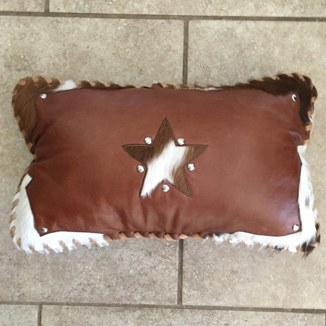Handmade Leather & Cowhide Lumbar Texas Pillow For Sale - Image 11 of 11