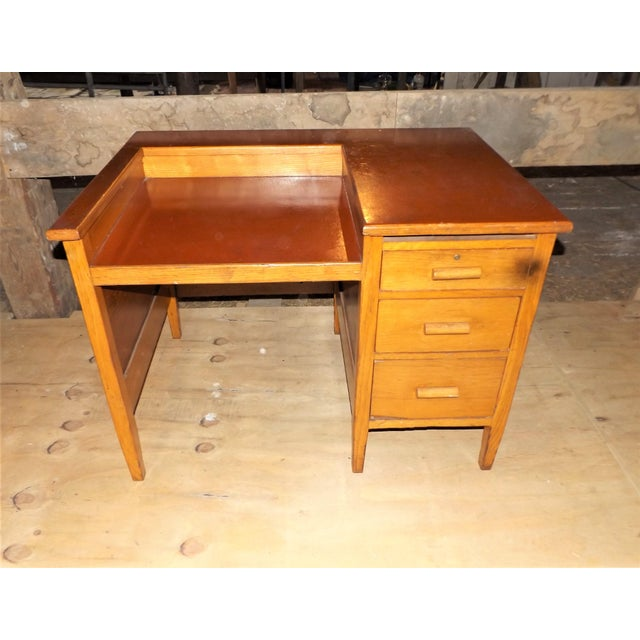 1960s Rustic Oak Writing Desk For Sale - Image 10 of 10