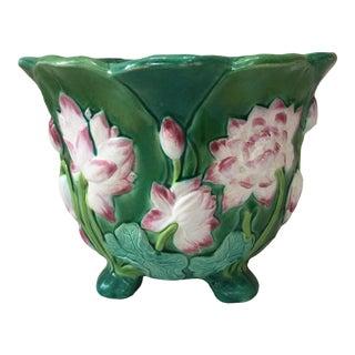 1860 Minton Victorian Majolica Lily Jardiniere For Sale