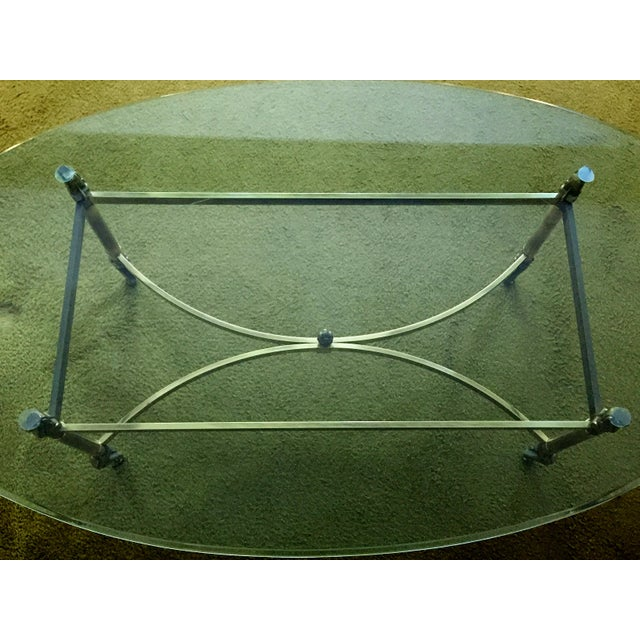 Hollywood Regency La Barge Hollywood Regency Brass & Clear Glass Coffee Table For Sale - Image 3 of 6