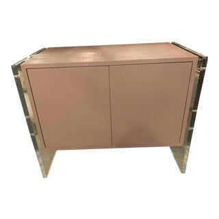Vintage Hollywood Regency Lacquered Lucite & Grasscloth Credenza Cabinet For Sale