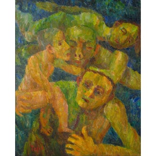 """Jennings Tofel """"Rescue"""" Expressionist Figures, Oil on Canvas, 1951 1951 For Sale"""