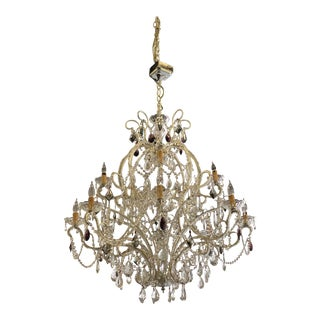 1950s Boho Chic Amethyst Accented Crystal Chandelier For Sale