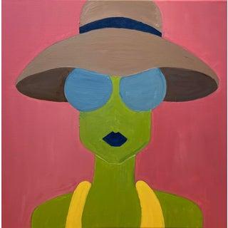 """Contemporary Original """"Tan Hat, Blue Shades"""" Fashion Pop Art Portrait Painting For Sale"""