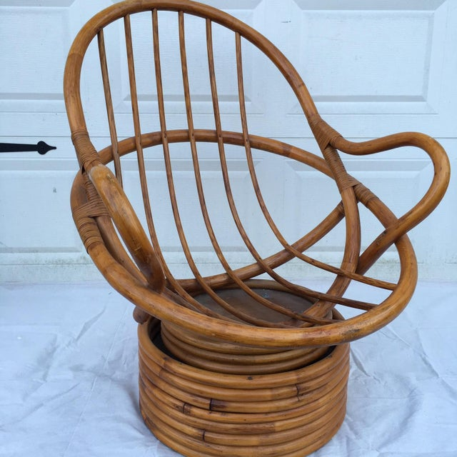 Vintage Bamboo Cocoon Swivel Chair For Sale - Image 5 of 8