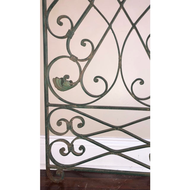 Cottage Antique Green Wrought Iron Folding Divider For Sale - Image 3 of 12